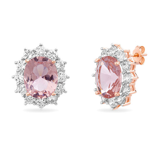 Inspired By You Simulated Pink Morganite 14K Rose Gold Over Silver 17.1mm Stud Earrings