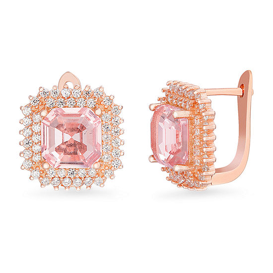 Inspired By You Simulated Pink Morganite 14K Rose Gold Over Silver Drop Earrings