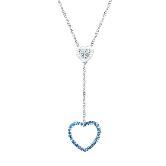 Womens Genuine Blue Topaz Sterling Silver Heart Pendant Necklace