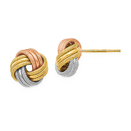 14K Tri-Color Gold 8mm Knot Stud Earrings
