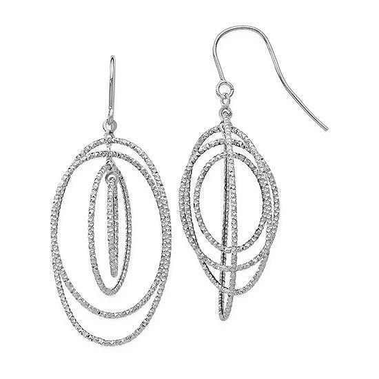 14K White Gold Drop Earrings