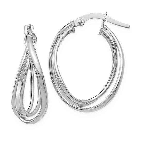 14K White Gold 21mm Hoop Earrings