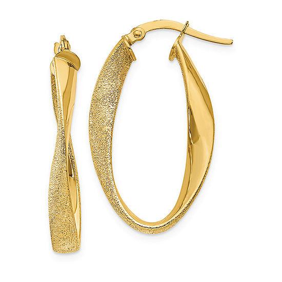 14K Gold 10mm Oval Hoop Earrings