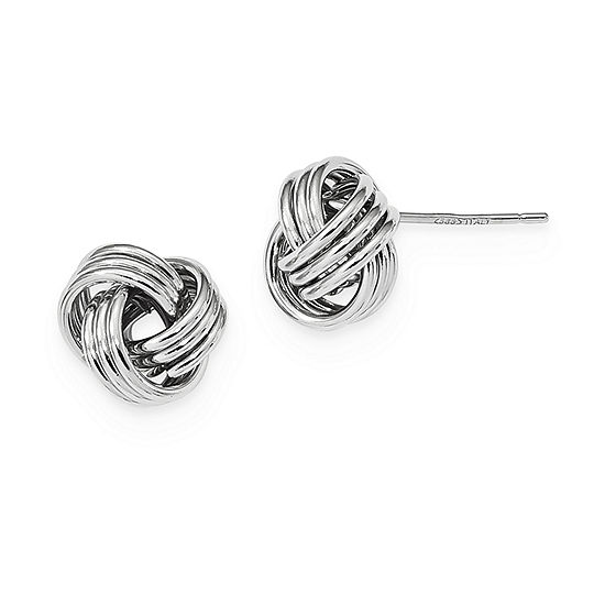 14K White Gold 10mm Knot Stud Earrings