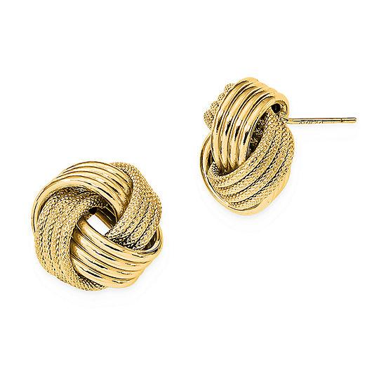 14K Gold 15mm Knot Stud Earrings