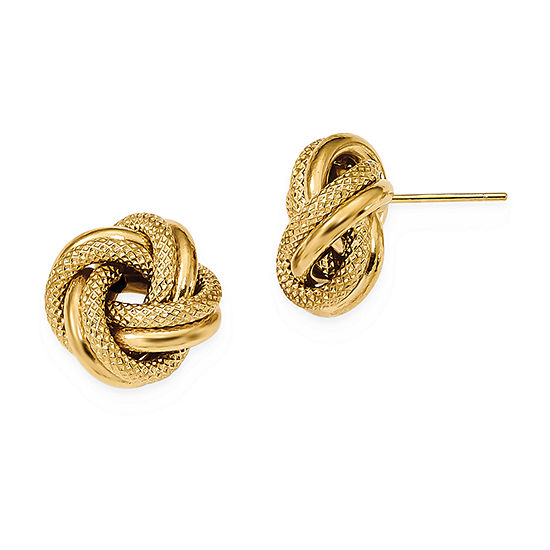 14K Gold 13.5mm Knot Stud Earrings