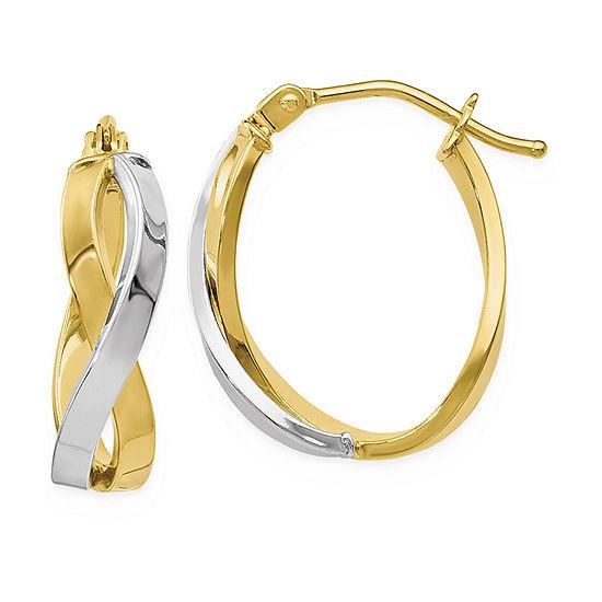 10K Two Tone Gold 19mm Hoop Earrings