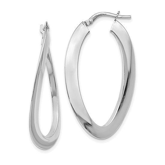 14K White Gold 38mm Oval Hoop Earrings