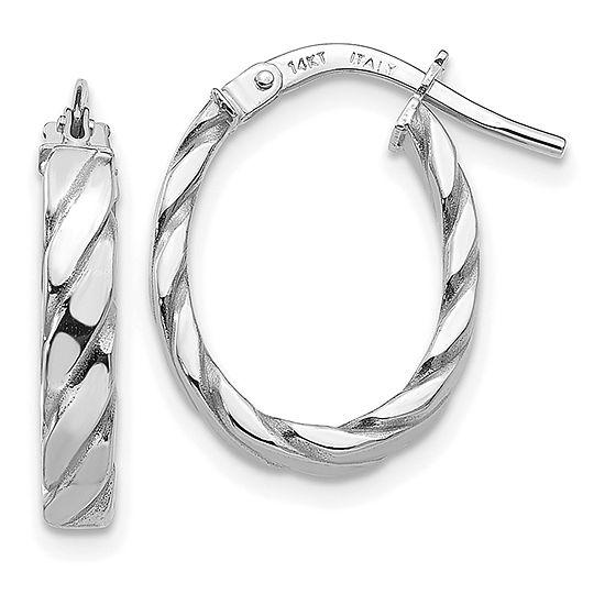 14K White Gold 19mm Oval Hoop Earrings