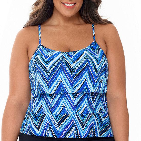 St. John's Bay Chevron Tankini Swimsuit Top Plus