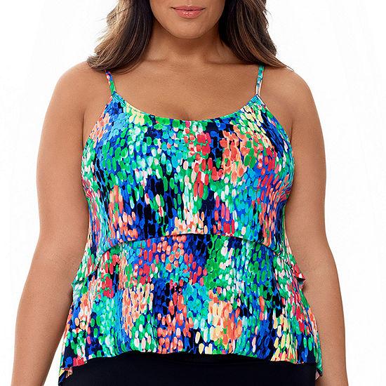 St. John's Bay Abstract Tankini Swimsuit Top Plus