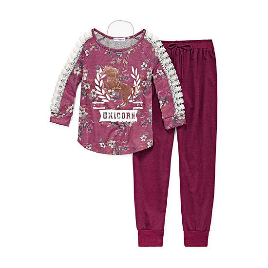 Knit Works Lace Open Sleeve Graphic Top Jogger Set w/ Necklace - Girls' 4-16 & Plus