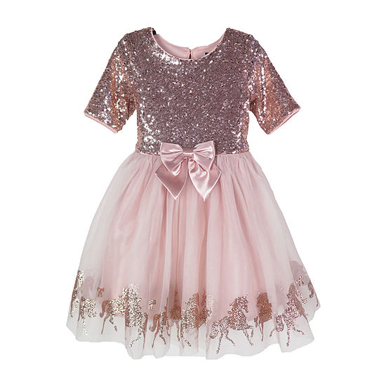 Lilt Girls Elbow Sleeve Party Dress - Preschool