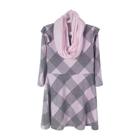 Arizona Girls 3/4 Sleeve Fitted Sleeve Dress Set - Preschool / Big Kid