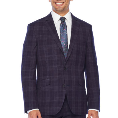 The Savile Row Co Windowpane Slim Fit Stretch Suit Jacket