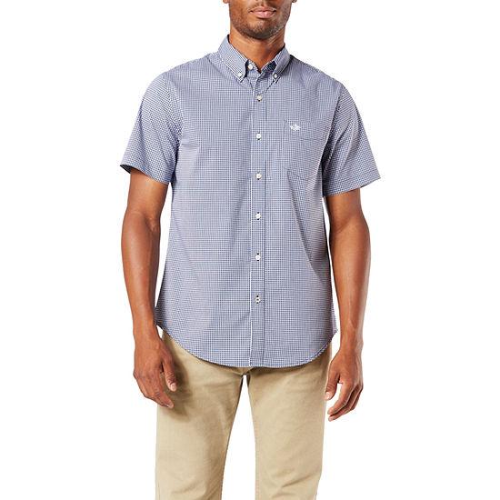 Dockers Mens Short Sleeve Plaid Button-Front Shirt