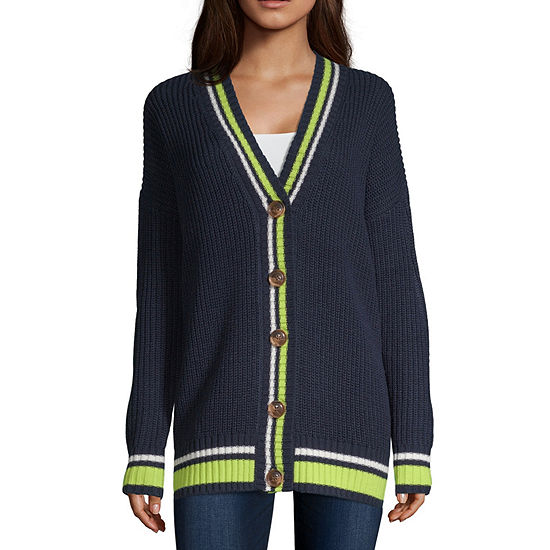 Arizona-Juniors Womens V Neck Long Sleeve Cardigan