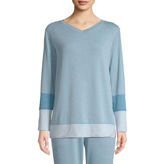 St. John's Bay Active Color Block-Womens V Neck Long Sleeve Top