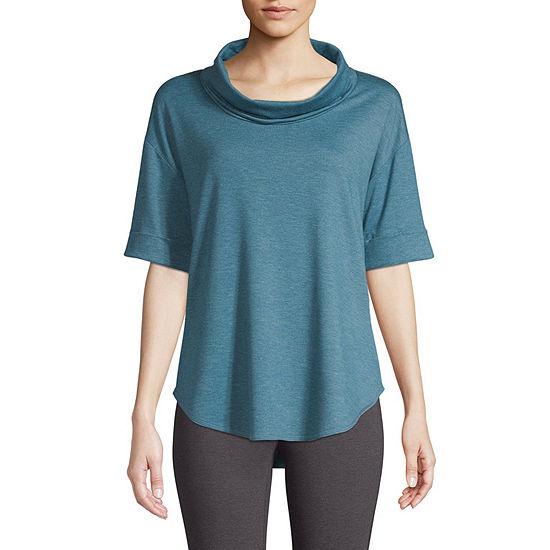 St. John's Bay Active-Womens Cowl Neck Elbow Sleeve T-Shirt