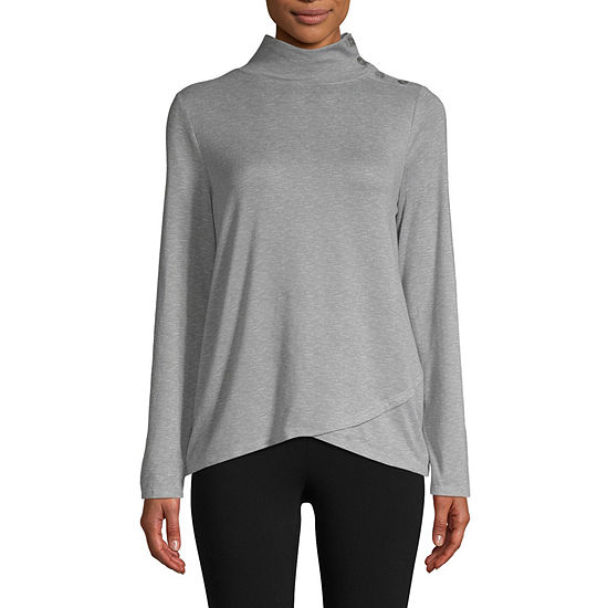 St. John's Bay Active-Womens Turtleneck Long Sleeve T-Shirt