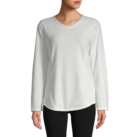 St. John's Bay Active Polar V Neck Fleece Womens V Neck Long Sleeve Sweatshirt