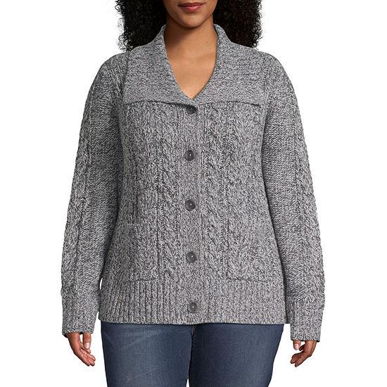 St. John's Bay-Plus Womens Long Sleeve Button Cardigan