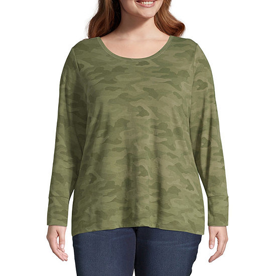 a.n.a Womens Round Neck Long Sleeve T-Shirt - Plus