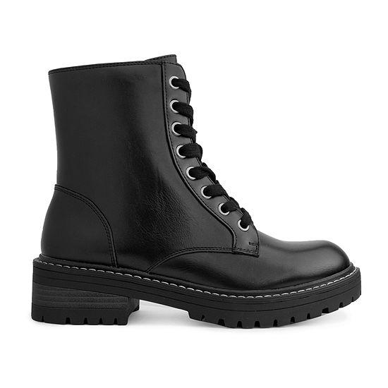 Sugar Womens Kagen Combat Flat Heel Boots