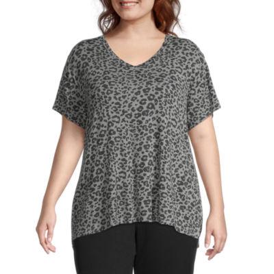 Ambrielle Womens-Plus V Neck Pajama Top