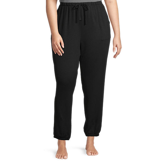 Ambrielle Scrunch Womens-Plus French Terry Pajama Pants