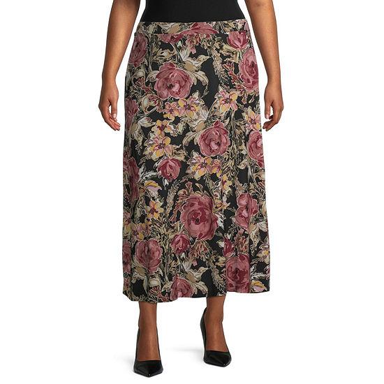 Black Label by Evan-Picone Womens Midi A-Line Skirt-Plus