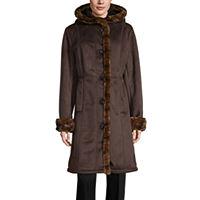 Deals on Gallery Sherpa Hooded Heavyweight Faux Fur Coat