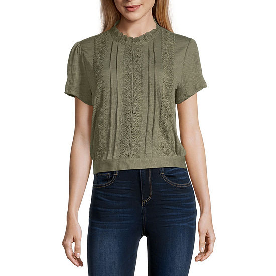Self Esteem-Juniors Womens Round Neck Short Sleeve Blouse