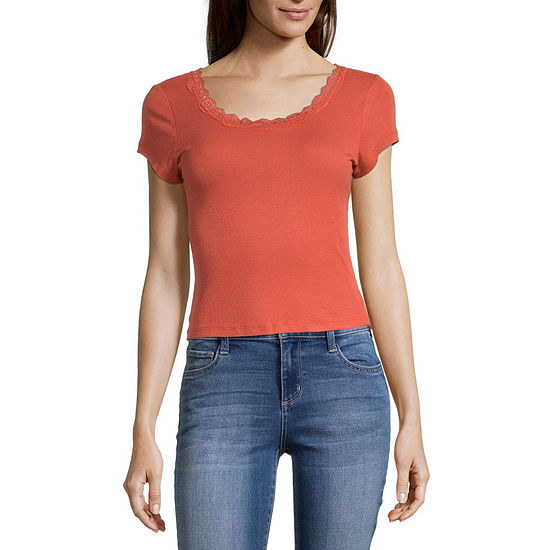 Self Esteem Juniors Womens Round Neck Short Sleeve T-Shirt
