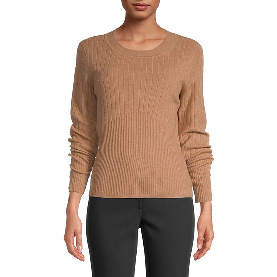 Liz Claiborne Womens Round Neck Long Sleeve Pullover Sweater