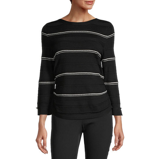 Liz Claiborne Womens Boat Neck 3/4 Sleeve Pullover Sweater