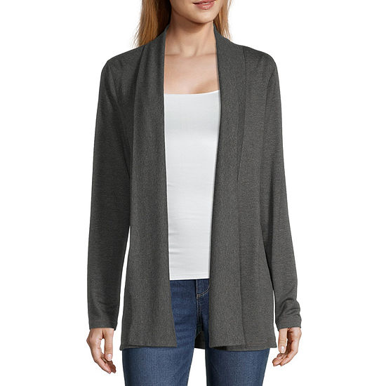 Liz Claiborne Womens Long Sleeve Open Front Cardigan