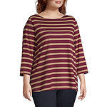 St. John's Bay Plus-Womens Boat Neck 3/4 Sleeve T-Shirt