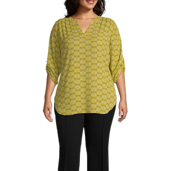 Worthington 3/4 Sleeve Printed V Neck Woven Blouse - Plus