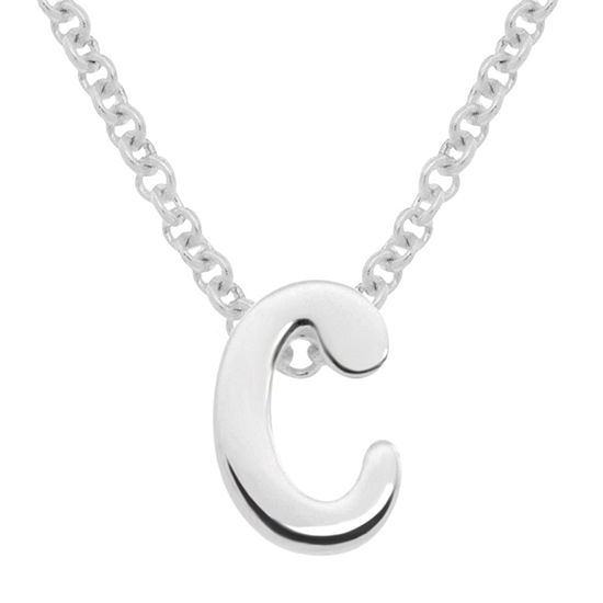 Itsy Bitsy Sterling Silver 17 Inch Cable Initial Pendant Necklace