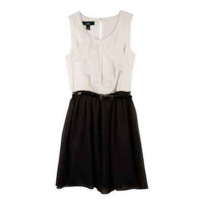 by&by Girl Ruffle Dress with Bow - Girls 7-16
