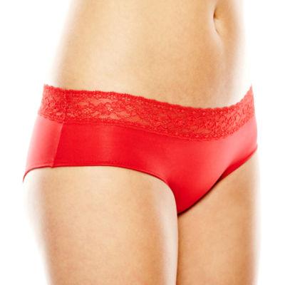 Ambrielle® Lace-Trim Microfiber Hipster Panties