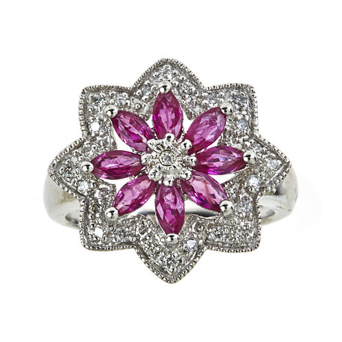 LIMITED QUANTITIES  Lead Glass-Filled Ruby and Lab-Created White Sapphire Flower Ring