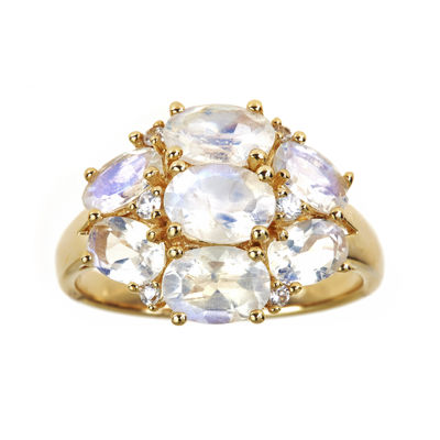 LIMITED QUANTITIES  Genuine Rainbow Moonstone and Lab-Created White Sapphire Ring