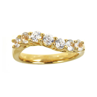 LIMITED QUANTITIES Genuine White Zircon 14K Yellow Gold Over Sterling Silver Wave Ring