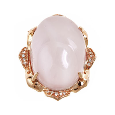 LIMITED QUANTITIES! Genuine Rose Quartz and Lab-Created White Sapphire Ring