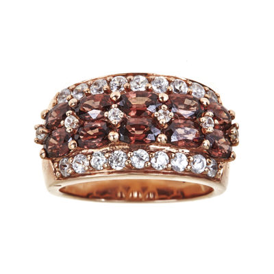 LIMITED QUANTITIES  Genuine Red Zircon and Lab-Created White Sapphire 18K Rose Gold Over Silver Ring