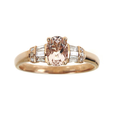 LIMITED QUANTITIES Genuine Morganite and 1/4 CT. T.W. Diamond Ring