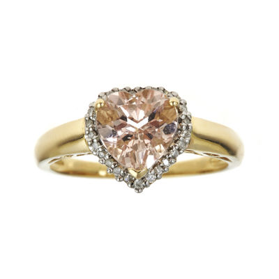 CLOSEOUT! Heart-Shaped Genuine Morganite and 1/10 CT. T.W. Diamond Ring