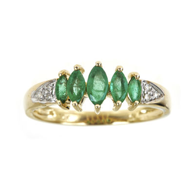 LIMITED QUANTITIES  Genuine Emerald and Diamond-Accent 5-Stone Ring